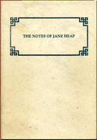 The Notes of Jane Heap - by Jane Heap - Product Image